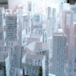 Elina Katara | Open City | 2003 | paper, glue. Diary's pages have been transformed into buildings.