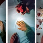 Elina Katara & Sanna-Mari Pirkola | Hands (video still images) | 1998 | video projection on a table, white table cloth, two chairs. Viewers can sit at the table and watch animated video episodes projected onto the surface of a white table cloth. Hands appear in the video and surreal, dream-like things begin to happen.