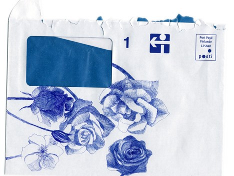 Elina Katara | I Never Promised You a Rose Garden | 2005 | ballpoint pen on official envelope