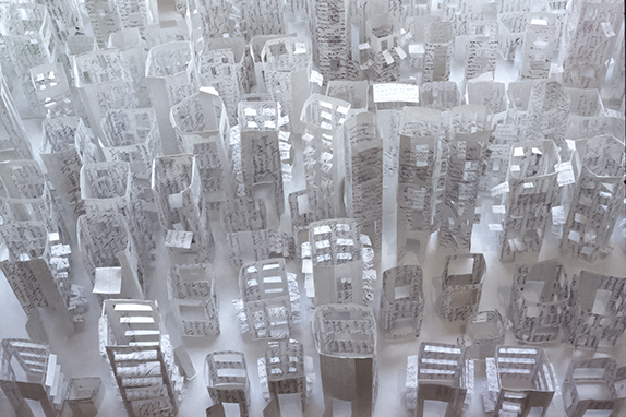 Elina Katara   Open City   2003   paper, glue. Diary's pages have been transformed into buildings