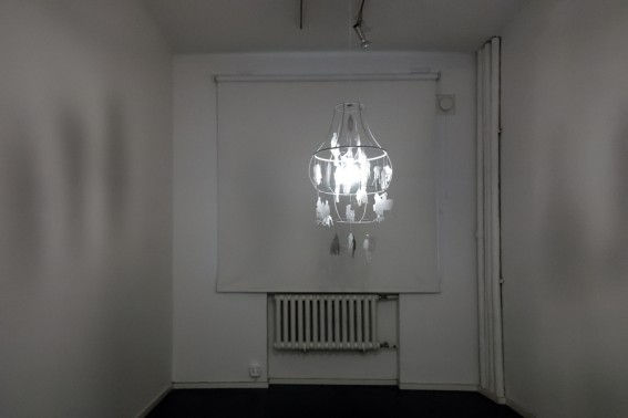 Elina Katara | Chandelier | 2007 | pencil on paper, mixed media, light bulb
