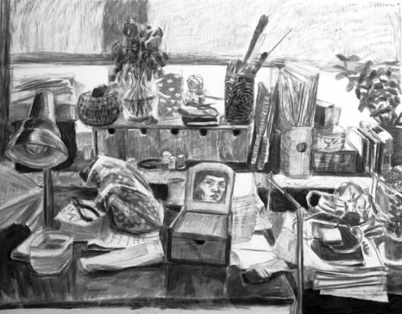 Elina Katara | Self portrait | 2007 | charcoal on paper