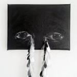 Elina Katara | Crocodile Tears (detail) | 2016 | acrylic paint on canvas, tears made out of domestic plastic waste