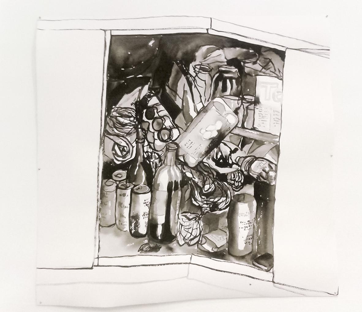 Elina Katara | Guts II | 2016| ink on paper