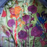 Elina Katara | Introvert's Jacket (detail) | 2014- | cotton fabric, hand dyed fabric, plastic decorations, sewing, embroidery. The garden inside the jacket keeps growing during future years.
